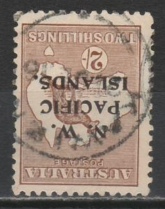 NWPI NEW GUINEA 1915 KANGAROO 2/- 3RD WMK INVERTED  USED TYPE C