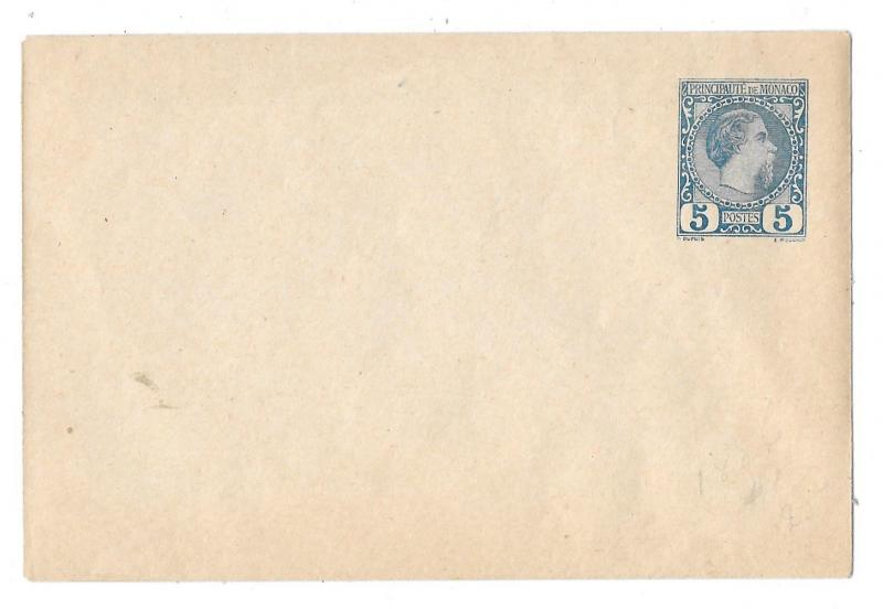 Monaco Postal Stationery Envelope 5c Charles III Blue Unused