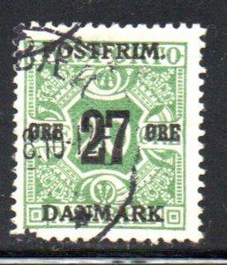Denmark Sc 150 1918 27 ore overprint on 20 ore newspaper stamp used