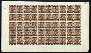 w46 Wurttemberg Scott #O51 35pf brown Mint OG NH full pane of 50 Scarce