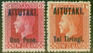 Aitutaki 1916-17 set of 2 SG13a-14a P.14 x 14.5 Fine Lightly Mtd Mint