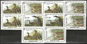HAITI 10 ILLUSTRATED DUCK  Stamp Set WYSIWYG Lot