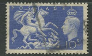 Great Britain -Scott 288 - KGVI - Definitive -1951 - Used - Single  10/-  Stamp