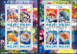{g126} Malawi 2013 Fishes 2 sheets Used / CTO Cinderella