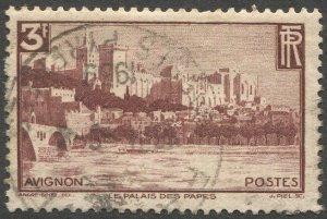 FRANCE 1938 Sc 344 Used VF 3F Palace of Popes, Avignon