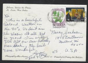 ST LUCIA (PP2101B)  1994 CHRISTAS 15C+TREE 50C ON PPC TO USA