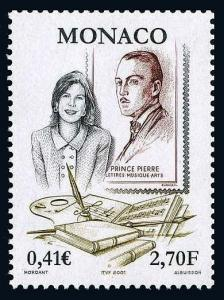 Monaco 2206, MNH. Prince Rainier III Literary Prize, 50th anniv. 2001