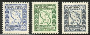 Martinique Scott J37-J39 Unused VFHOG - 1947 Postage Dues - SCV $1.20