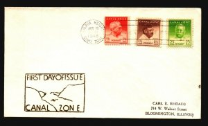 Canal Zone SC# 136, 137, and 140a FDC / Cacheted - L1608