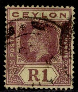 CEYLON GV SG354, 1r purple/pale yellow, FINE USED. Cat £50. DIE I
