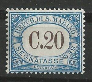 San Marino # J22  Postage Due -  20c  (1)  Unused VLH