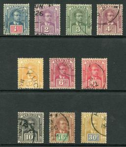 Sarawak 1928 Ten values to 30c Fine used cat 69.10