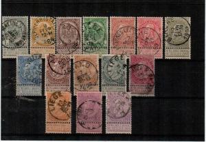 Belgium Scott 60-75 Used (missing #63) - Catalog Value $136.00