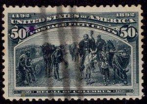 US Stamp #240 50c Columbian USED SCV $175. 4 Clear Margins!
