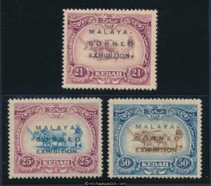 1922 Malaya Kedah Malaya-Borneo Exh Long Overprints SG49-51 MH