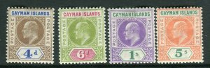 CAYMAN ISLANDS-1907  A mounted mint set to 5/- Sg 13-16