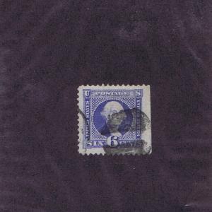 SCOTT# 115 USED 6c, 1869,  JUMBO, STRADDLE PANE MARGIN SINGLE, LT CCL, PF CERT.