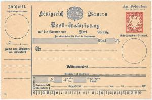 GERMANY \  BAYERN - MILITARY MONEY ORDER Post-Anweisung - 10 Pfenning