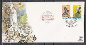 Indonesia, Scott cat. 1371-1372. Butterflies. Registered First Day Cover. ^