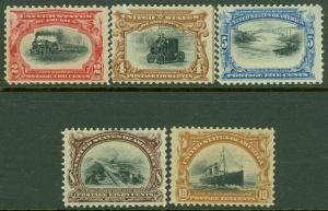 EDW1949SELL : USA 1901 Scott #295-99 Mint No Gum. Nice & Fresh set. Catalog $355