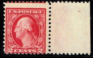 US STAMP #499  1917 2c Washington green, perf 11 MH/OG THIN MISPERF ERROR