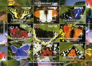 Turkmenistan 1997 Butterflies Scout 90th Anniversary Sheet Perforated mnh.vf