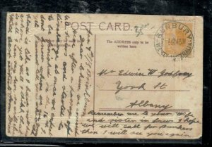 WESTERN AUSTRALIA COVER (P0101B) 1911 2D SWAN ON PPC ANTIQUE OVER 100 YEARS  OLD