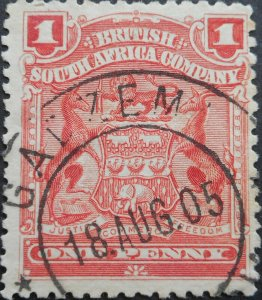 Rhodesia 1898 1d with GADZEMA missing letters (DC) postmark