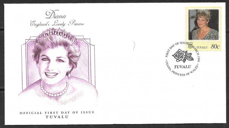 TUVALU 1998 Princess Diana Issue Sc 762c Cachet FDC