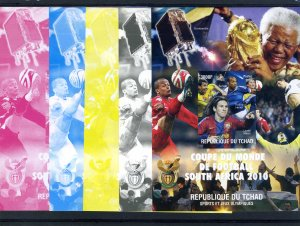 Chad 2010 MESSI Football World Cup South Africa (4) Color Proofs + original VF