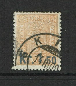 Norway SC# 60, Used, Large hinge remnant, canceled in 1908 or 1909? - S9379