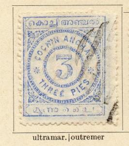 Cochin 1898 Early Issue Fine Used 3p. 322417