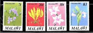 #8501 MALAWI 1983 FLORA  FLOWERS CHRISTMAS YV 409-12 MNH