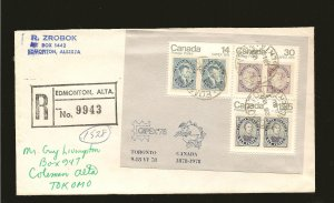 Canada 756a Souvenir Sheet on Postmarked 1981 Registered Cover