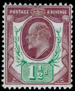 SG287 SPEC M10(-), 1½d dull reddish purple & green (F), NH MINT. Cat UNLISTED.