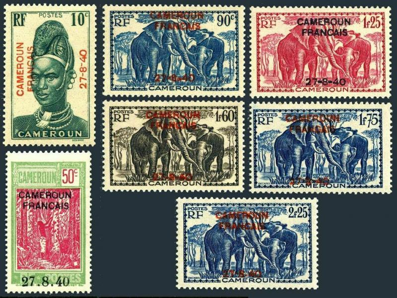 Cameroun 259/274 set-7,MNH dry gum. Mandara woman,Taping rubber tree,Elephants.