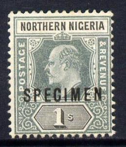 Northern Nigeria 1902 KE7 Crown CA 1s green & black o...