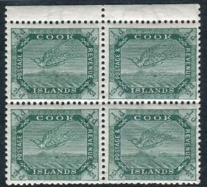 COOK ISLANDS-1911 ½d Green.  An unmounted mint marginal block of 4 Sg 37