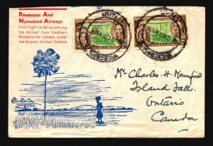 Southern Rhodesia 1937 FFC to Beira & Canada - Z17994