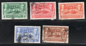 Barbados Sc 202-6 1939 General Assembly stamp set used