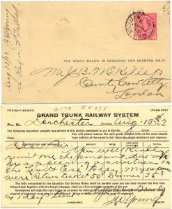Canada - 1913 Postal Stat. Card w NIAGARA FALLS + LONDON RPO