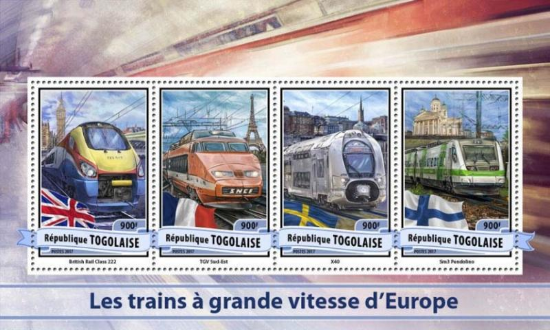 TOGO - 2017 - European High Speed Trains - Perf 4v Sheet - MNH