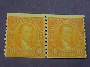 U.S.# 603-MINT/NEVER HINGED----JOINT LINE PAIR----ORANGE----MONROE----1924