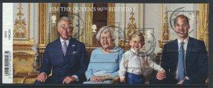 GB SG MS3832  SC#3501  QE II 90th Birthday  Miniature Sheet Used  see scan
