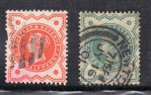 GREAT BRITAIN SC# 111+125 **USED**  1887-1900 1/2p SEE SCAN