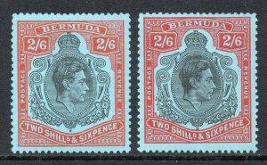 Bermuda 1938 KGVI 2/6d perf 13 BOTH shades SG 117c, 117d mint