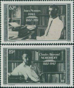 French Polynesia 1988 Sc#476-477,SG526-527 Nordhoff and Hall writers set MNH