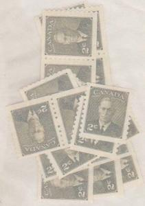 Canada USC #309 Mint 2c Green Coil (24) inc. Strips of Four - F-VF-NH