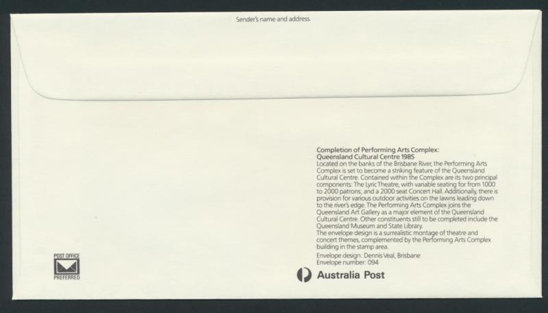 Australia PrePaid Envelope 1985  - Performing Arts Complex Queensland