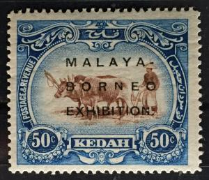 Malaya Borneo Exhibition opt Kedah 1922 Definitive 50c MLH 15½in BORNEO SG#51